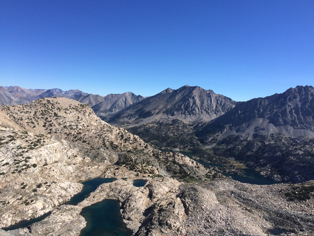 Looking down toward Rae Lakes from the top of Glen Pass (11,978').