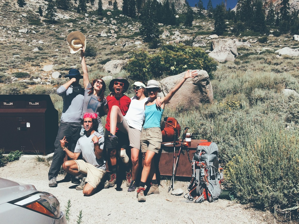 "E, J and the ""last-leg crew"" at Onion Valley trailhead."