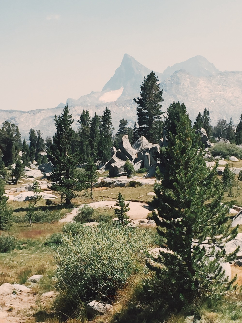 The view toward the Ritter Range shortly after crossing into Ansel Adams Wilderness from Yosemite.