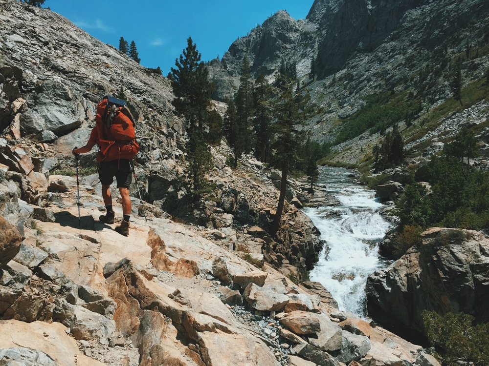 Hiking along the South Fork of the San Joaquin shortly after entering Kings Canyon National Park