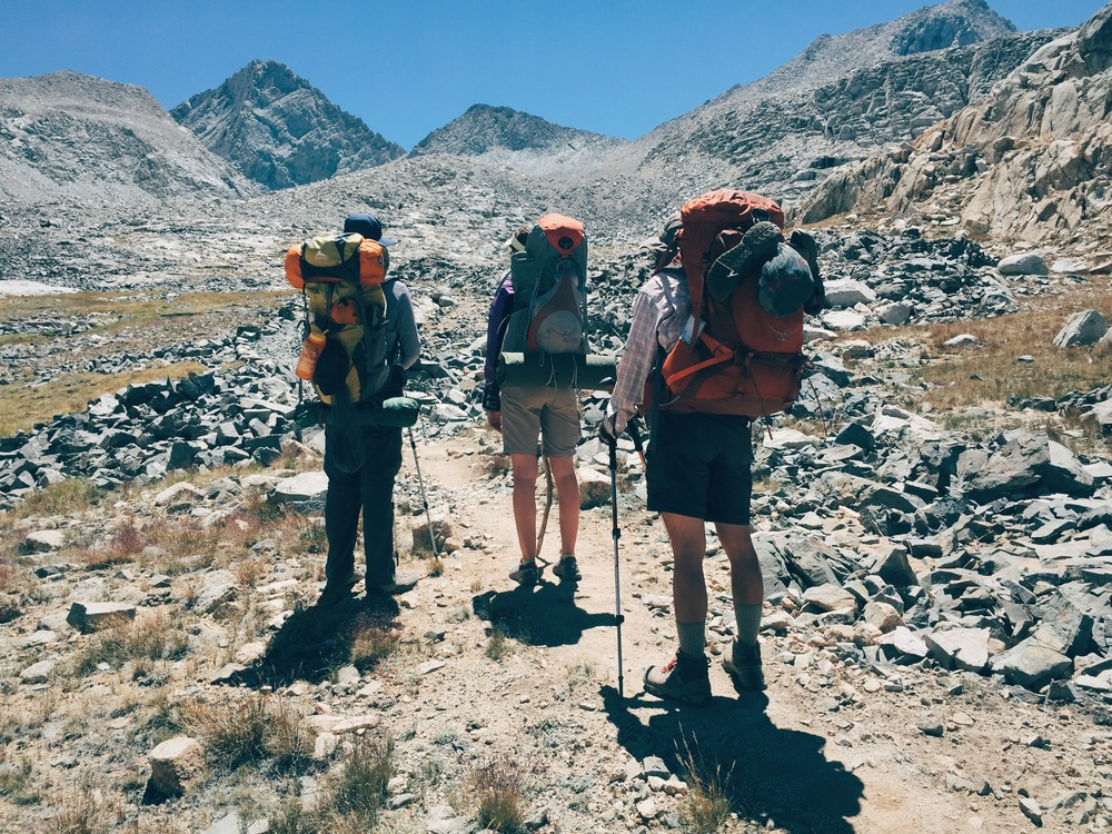 J, Torin and Genevieve looking up toward Forester Pass (13,180'), the last and highest pass of the JMT.
