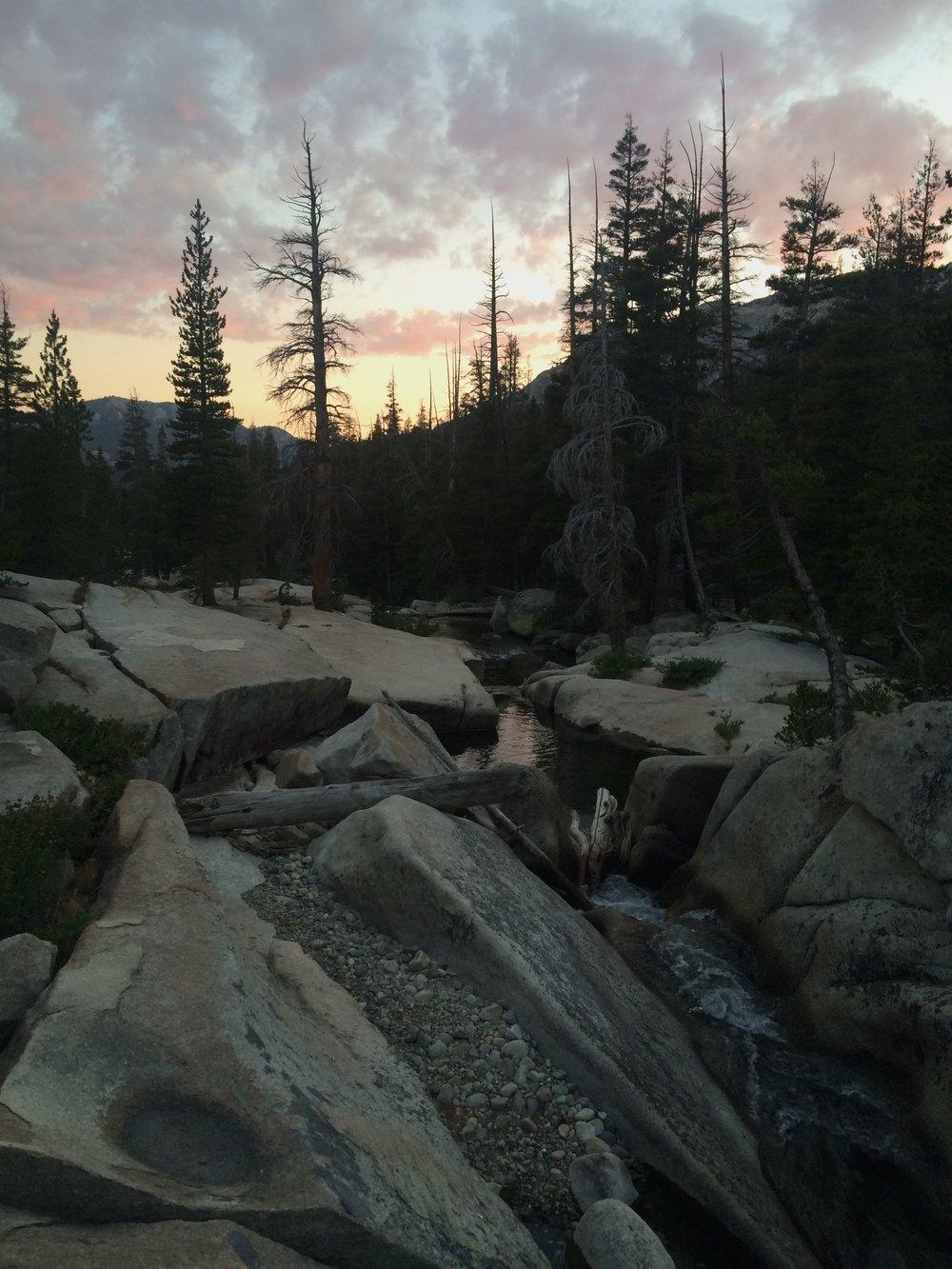 Last sunset on the trail, Return Creek, Yosemite Wilderness