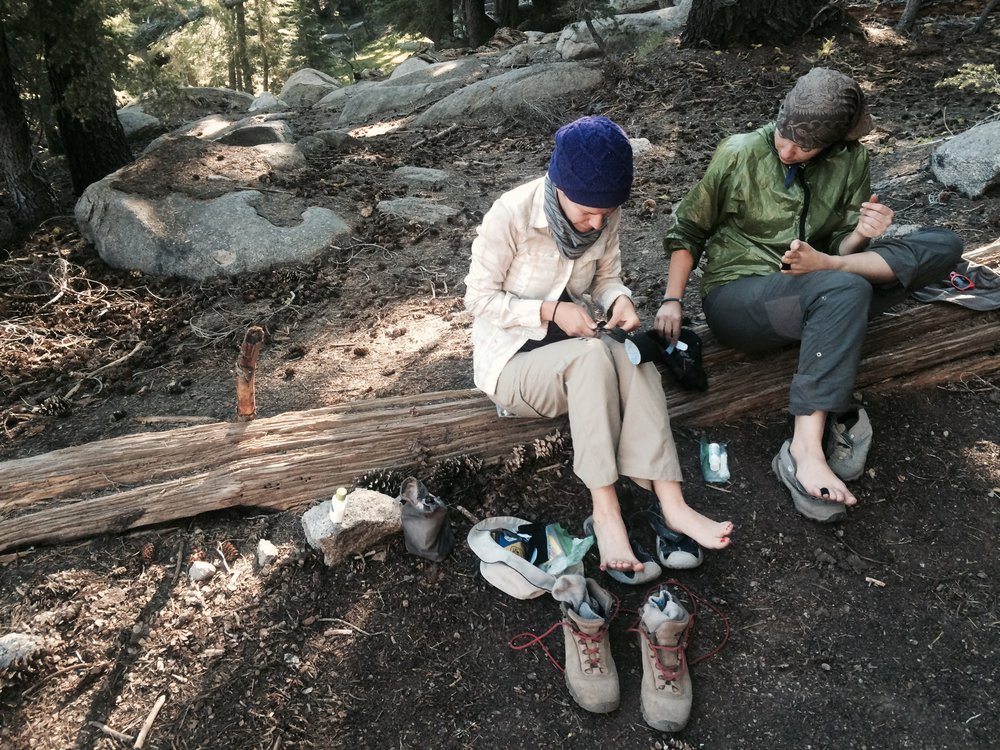 "Foot care -- very important on the trail! Our foot care bible is the book ""Fixing Your Feet"""