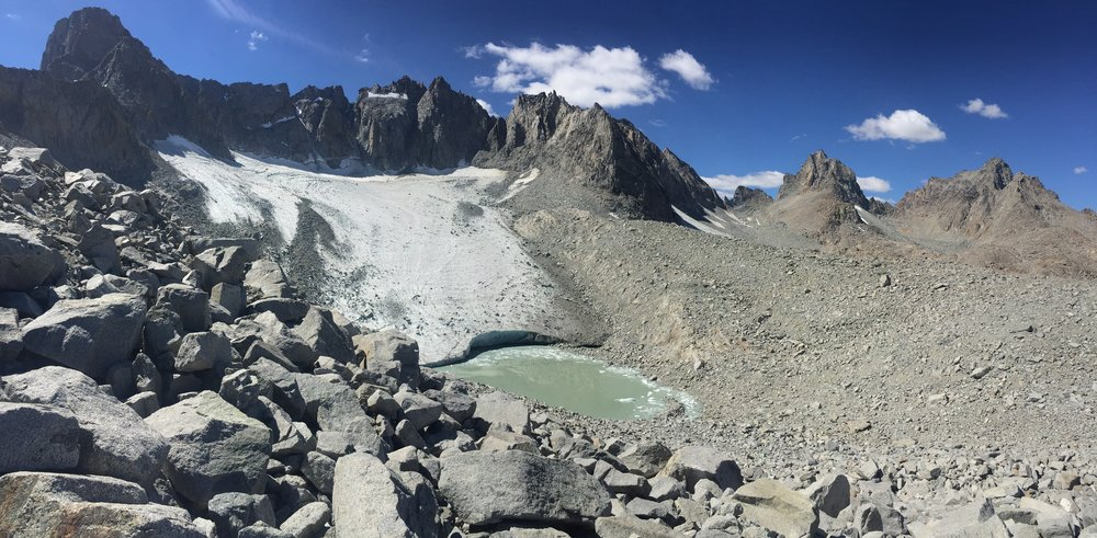 Palisade glacier and cirque. This is the view you get as you top out at the talus ridge above 12,000' -- guaranteed to leave you breathless in all possible ways!