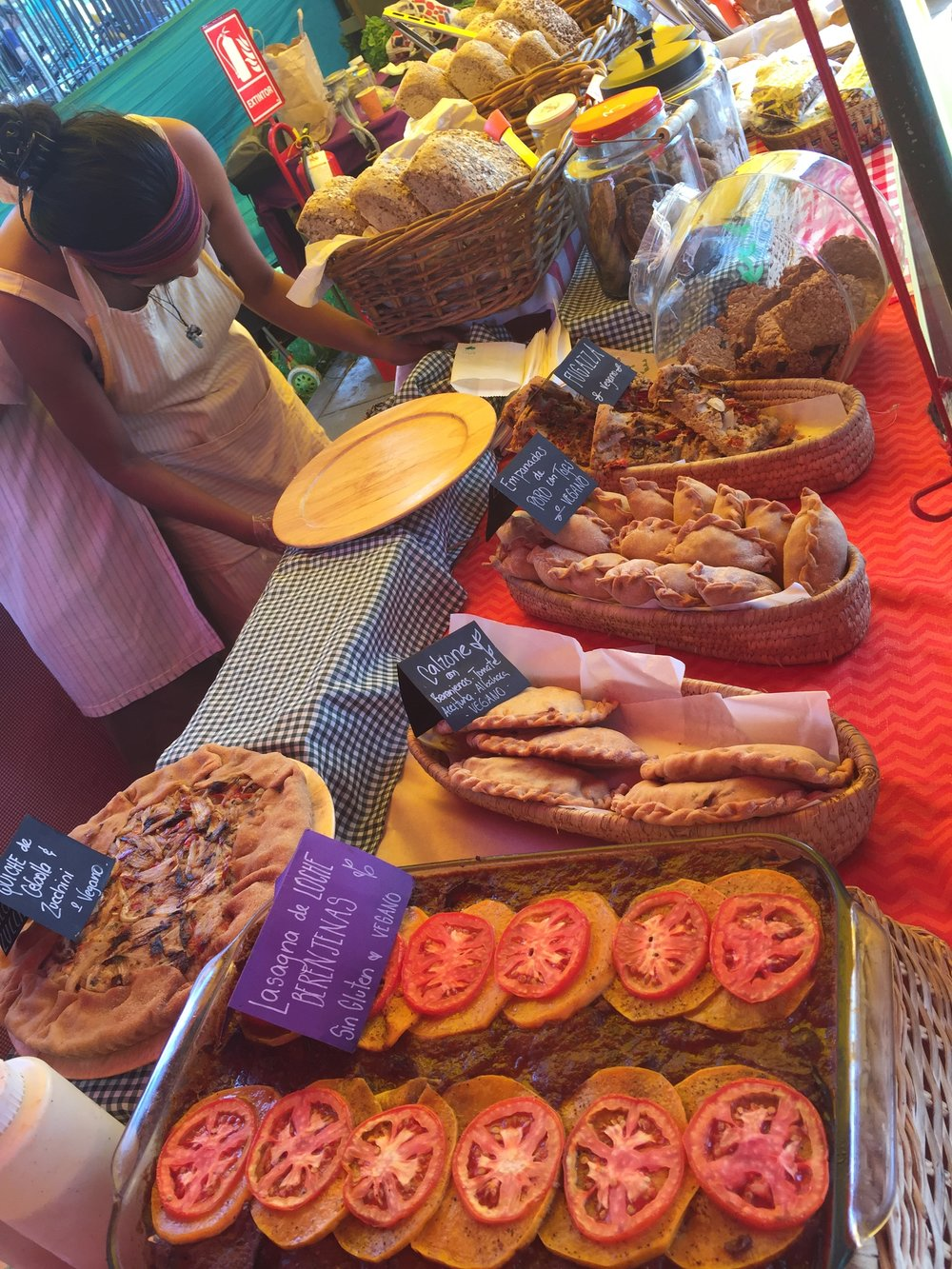 Vegan bakery stand at the Bioferia organic market in Miraflores district.
