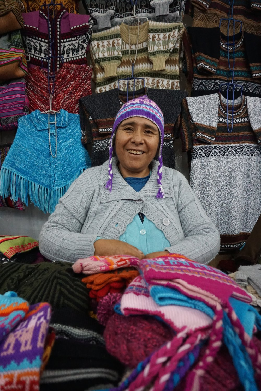 Arequipa is said to be among the best places in Peru to buy hand-made alpaca wool items. We visited an artisan market and stocked up on gifts for family. We bought a couple of hats from this friendly vendor.