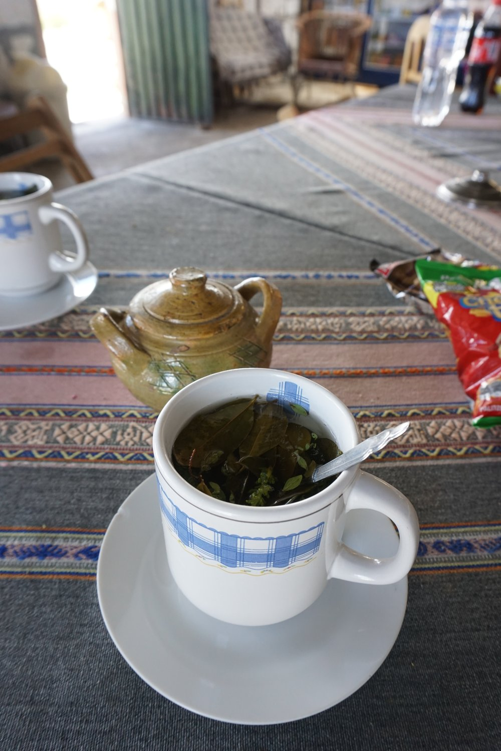 An infusion of coca leaves and other local herbs served at 15,000 feet to help with altitude sickness.
