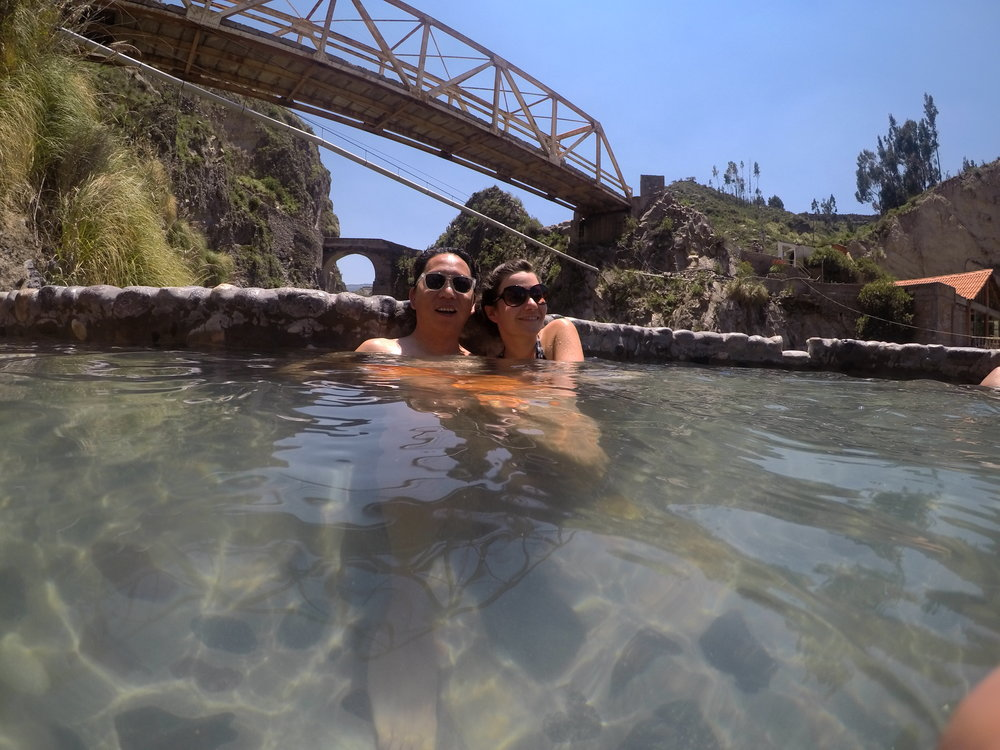 Hot springs at Yanque. Photo courtesy of our Polish friends and their GoPro.