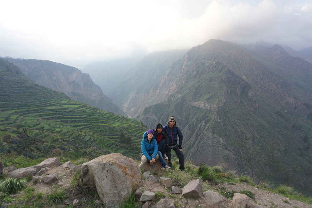 E, J and Sabino, our passionate Colca Trek guide.