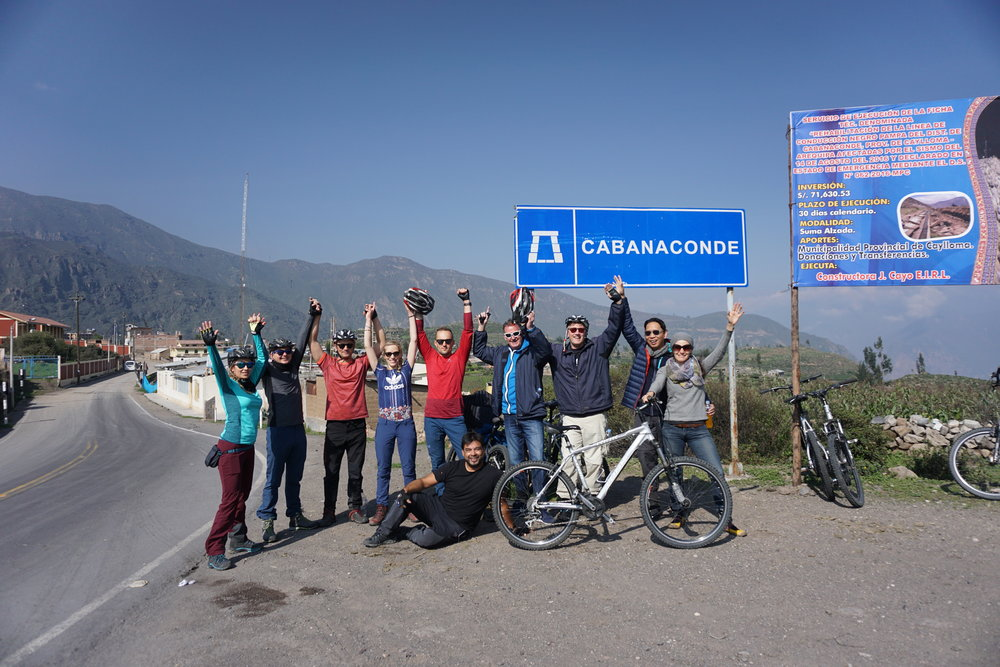 Our group at the end of an invigorating bike ride in Colca Valley