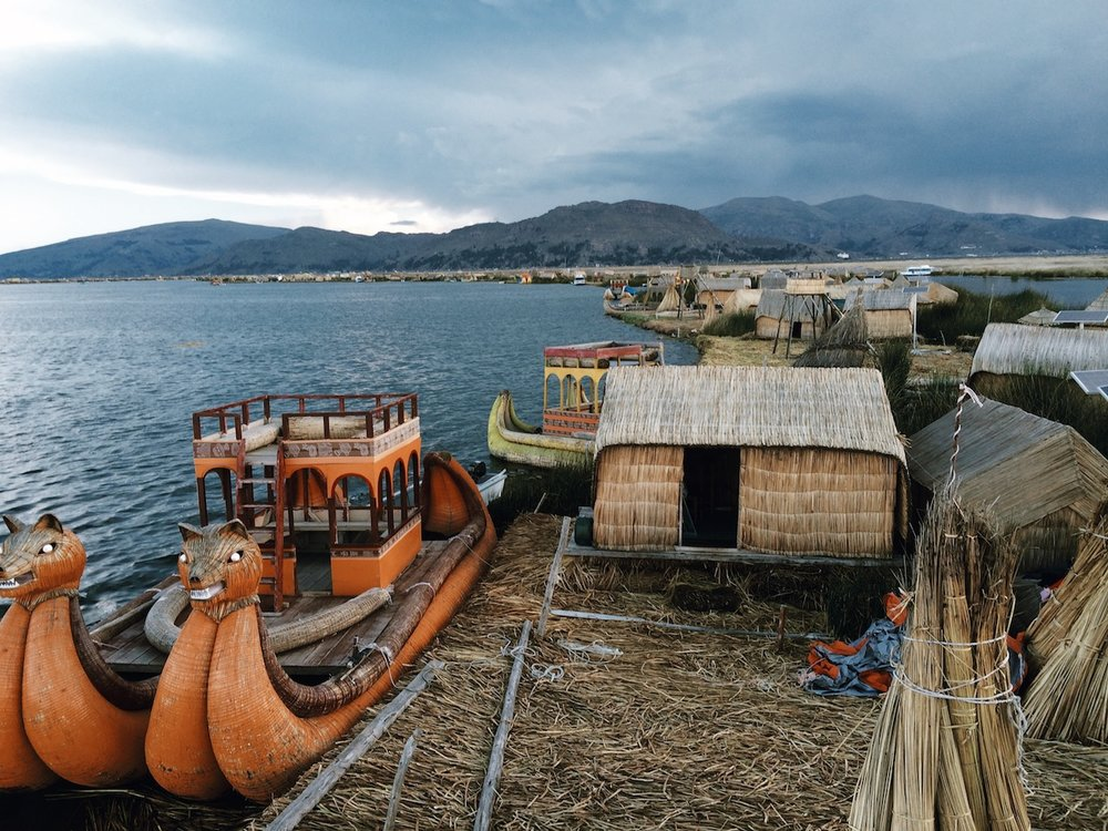 One of the floating islands of Uros on Lake Titicaca, 12,500'.