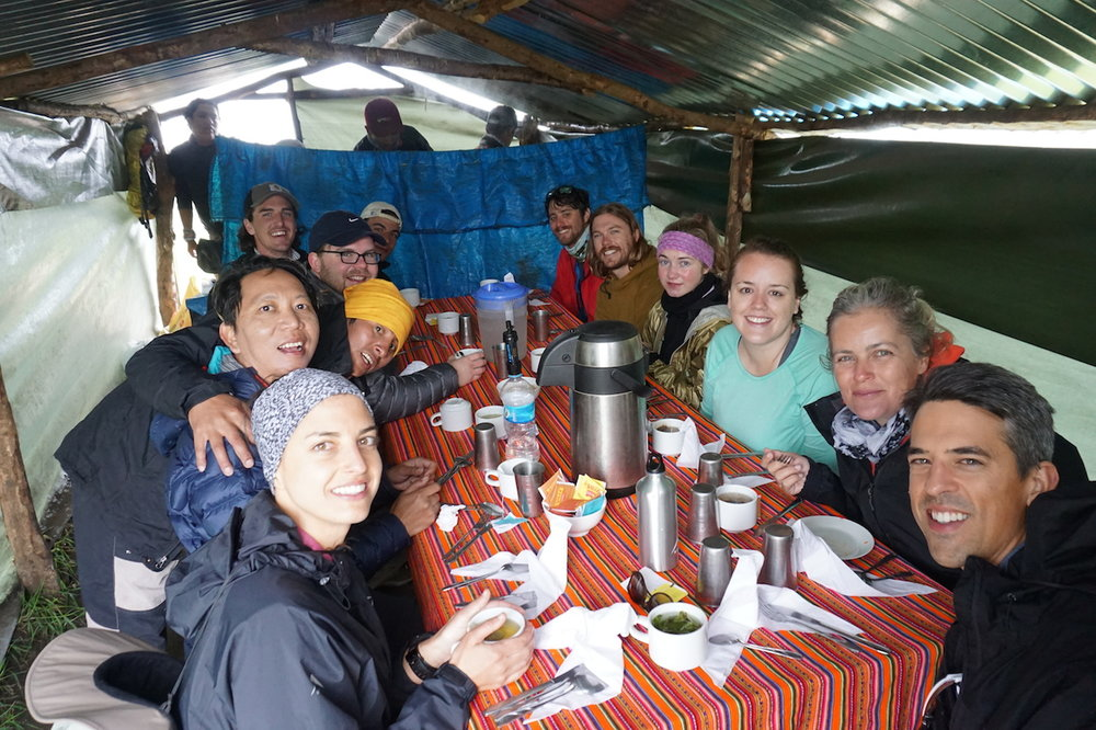 After hours of hiking in the rain in the morning, we were pleasantly surprised that our crew had been cooking up a feast for lunch, which was served in this hut. It was one of many gargantuan meals we had, and it was particularly difficult to leave because we were going back out into the cold, pouring rain.