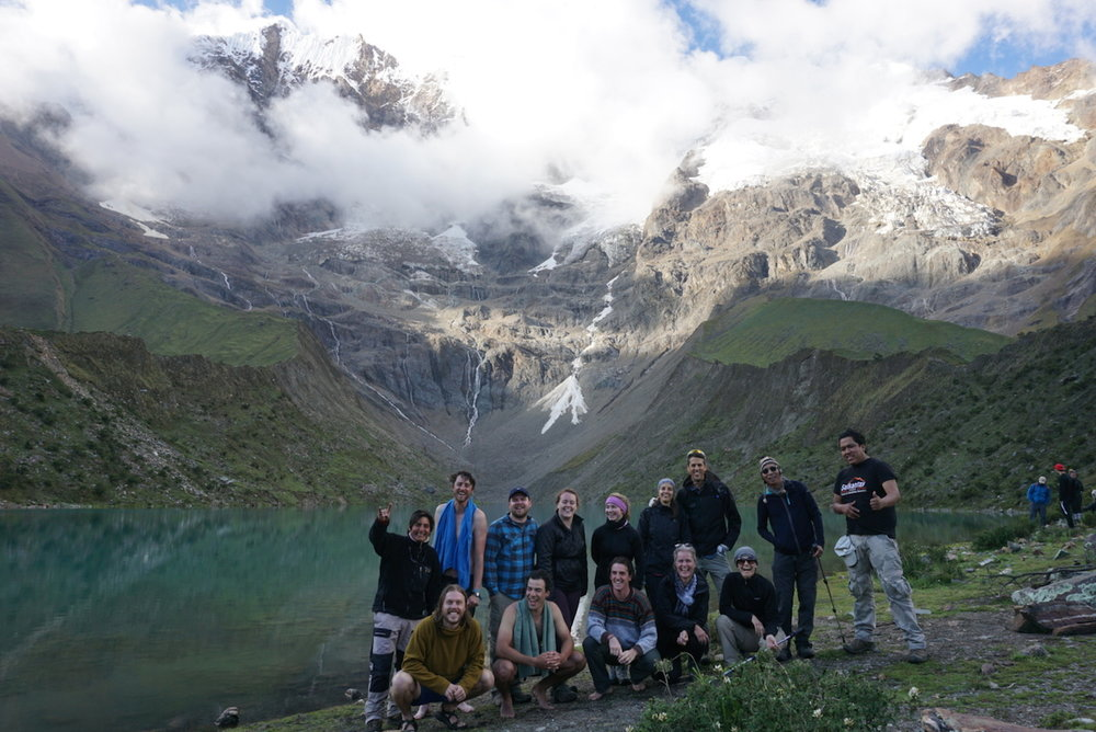 Our intrepid group of Salkantay trekkers on the shore of Humantay Lake.