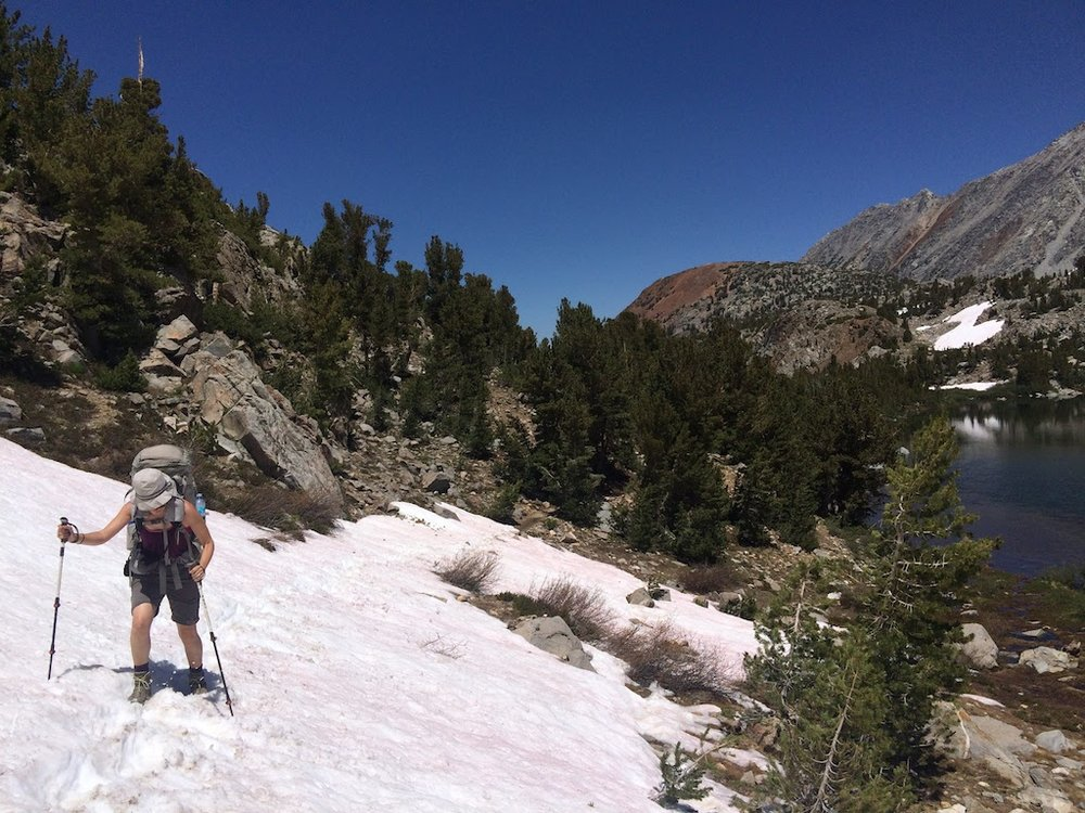 The beginning of about 7 miles of snow cover on either side of Muir Pass.