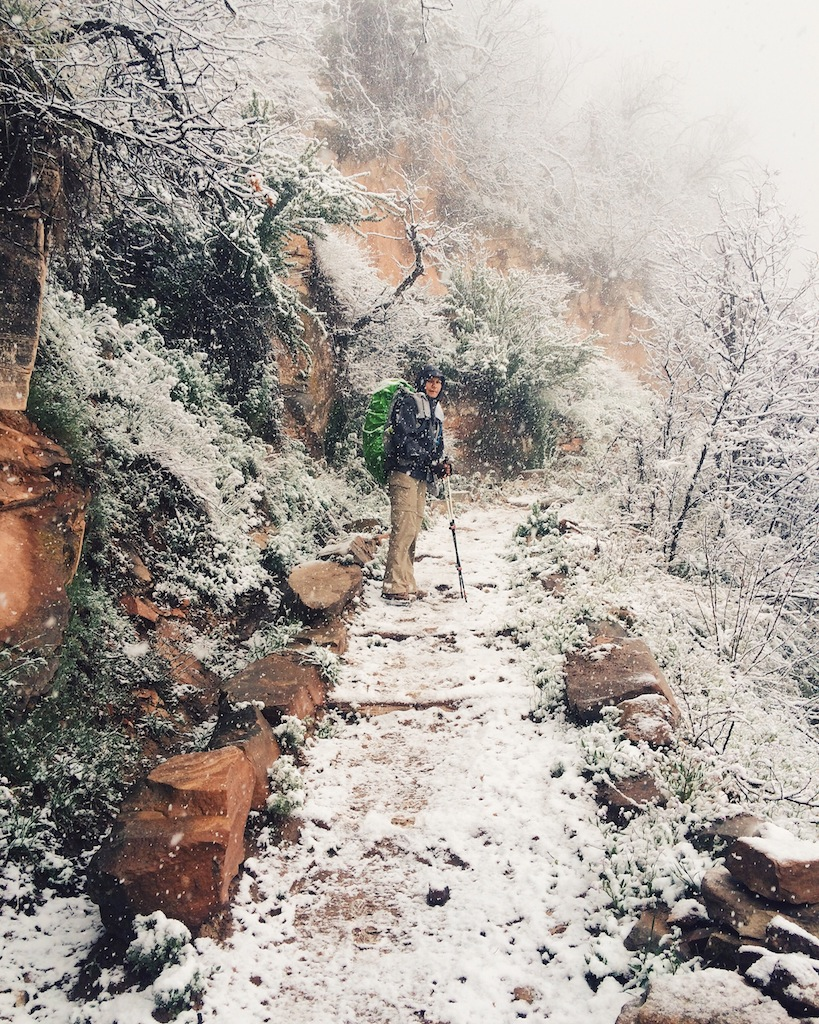 Snow on the North Kaibab Trail, heading toward the North Rim
