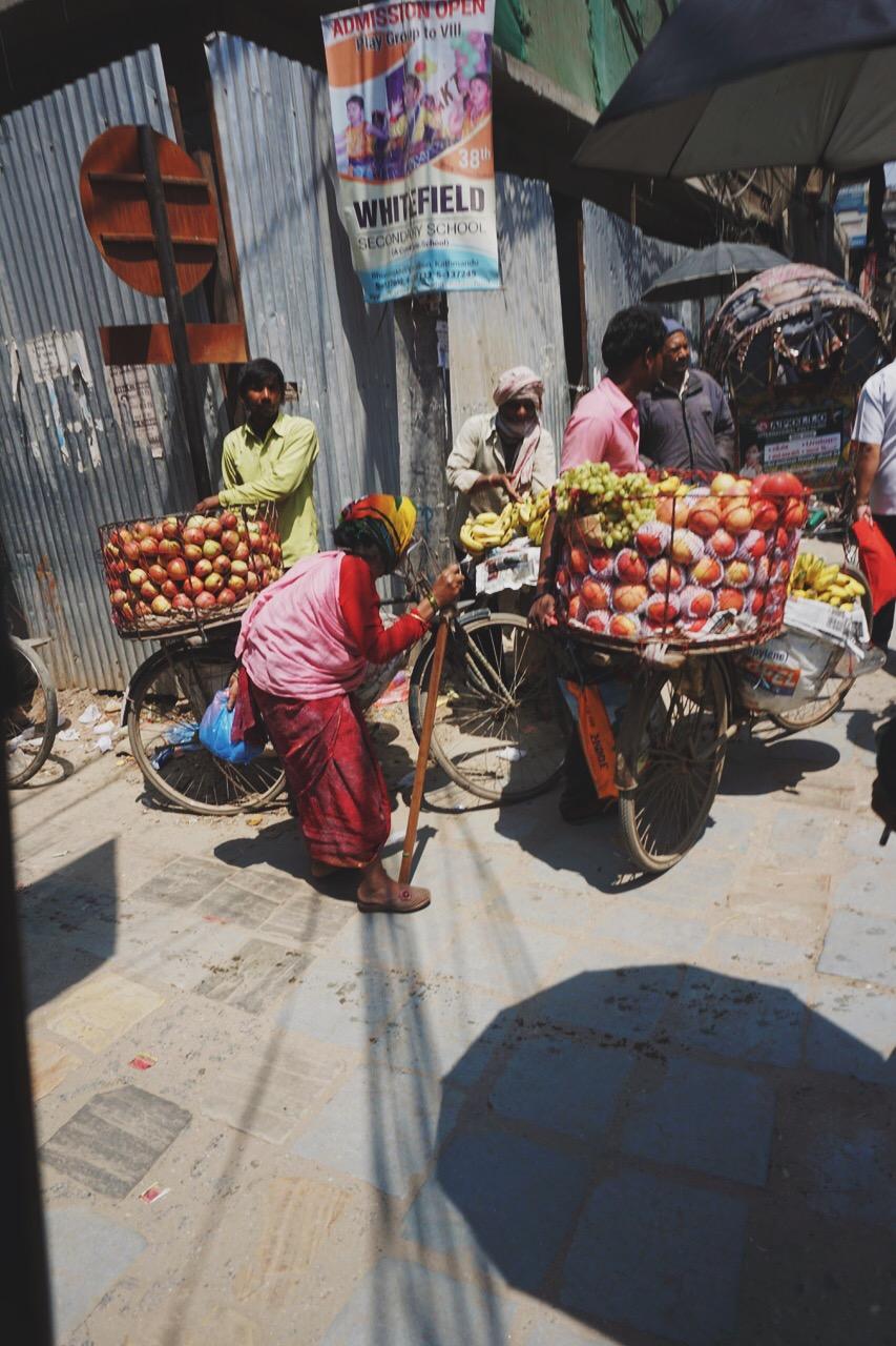 Fruit sellers, early-morning market, Kathmandu