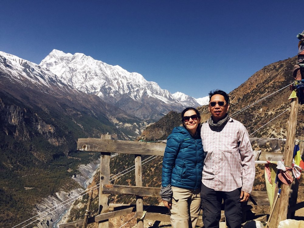 The sun shines a little closer up here — Annapurna III in the background (24,787 ft / 7,555 m)