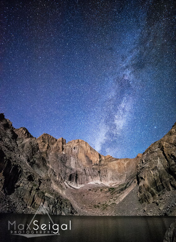 The Diamond on Longs Peak, taken at night with the milky way. Rocky Mountain National ParkPhoto by Max Seigalwww.maxwilderness.com------------------Shooting Data-----------------Date: August 1, 2013Time: 03:56:12 AMModel: NIKON D700Aperature: f/Shutter: 30ISO: 6400Lens: 0mm f/0Focal Length: MM