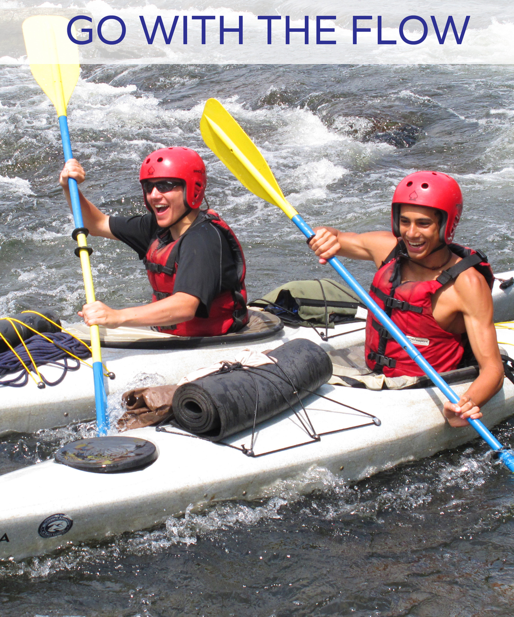 The longtime favorite 2 week river trip.  Go with the Flow has paddlers in canoes, white water kayaks, sea kayaks and whitewater rafts, camping on beaches and islands, and covering over a hundred miles of the New River. Ages 14-17, $1,835