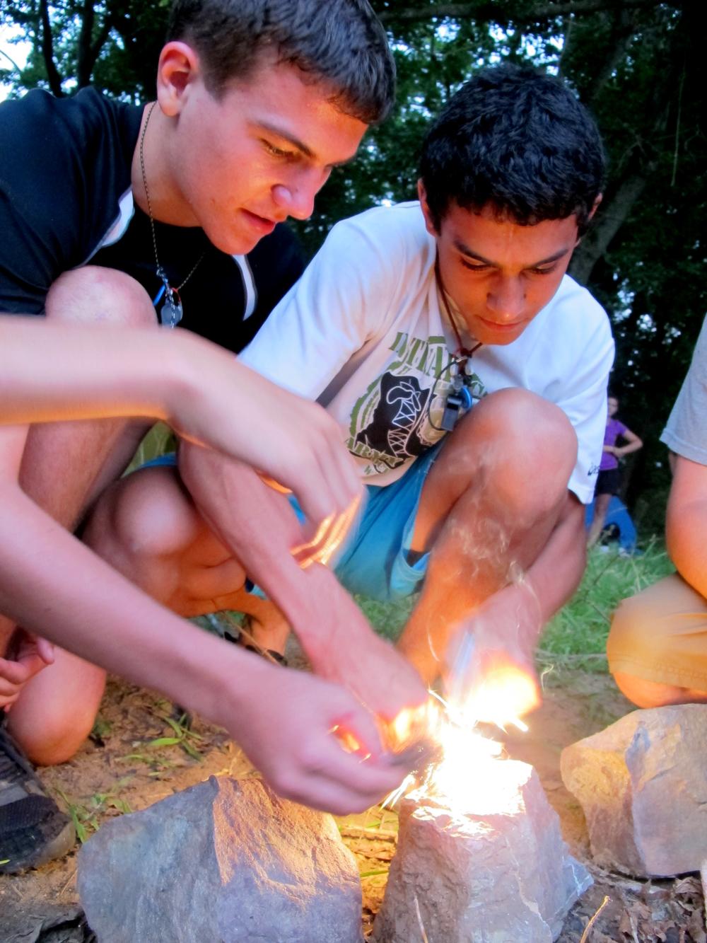 sparking a fire.JPG