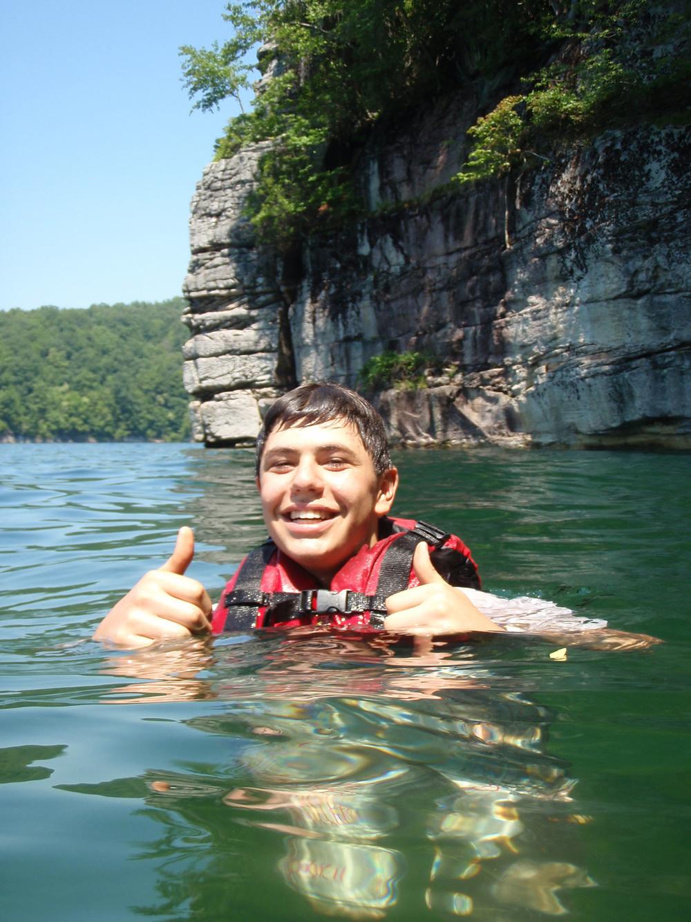 swimming at summersville.JPG