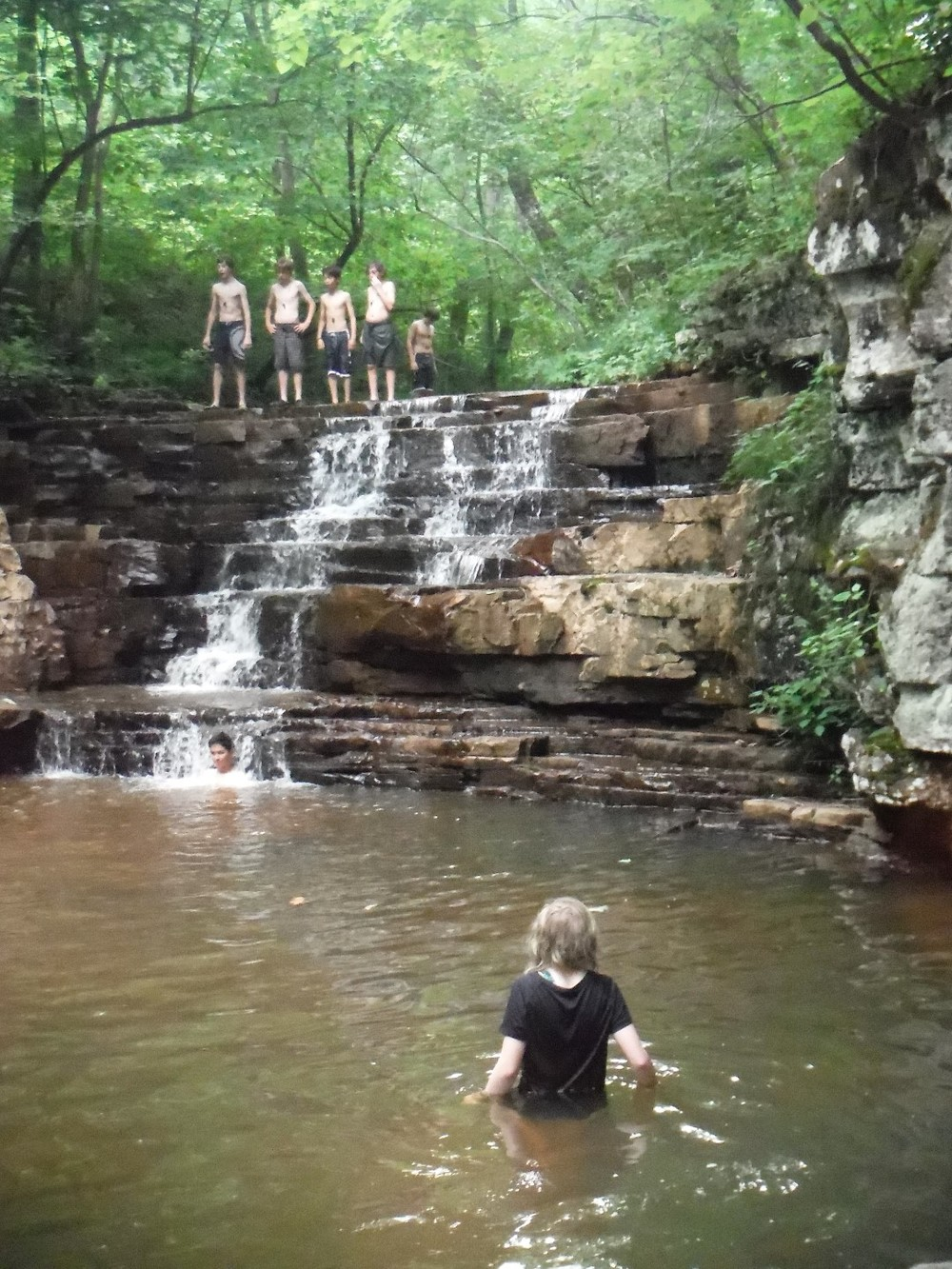 Group A enjoys a dip in the Fenwick Mines Waterfalls!