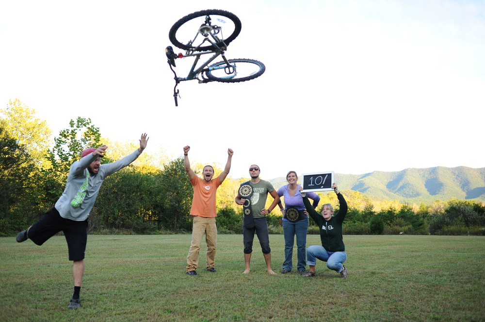 WAEL Staff practice their Huffy Tosses in preparation for GO Fest!