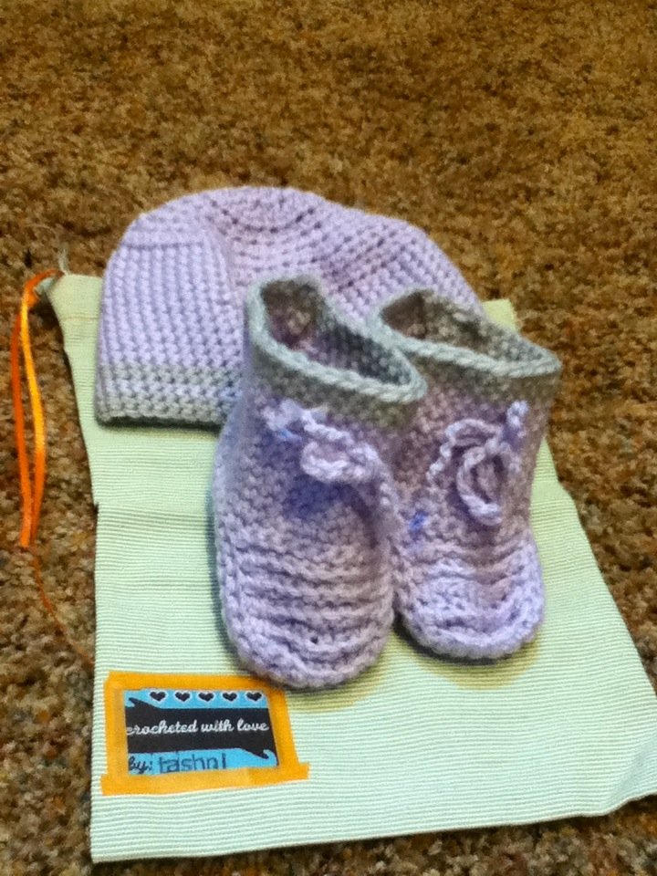Hats and booties of all sizes, made by Tashni C.