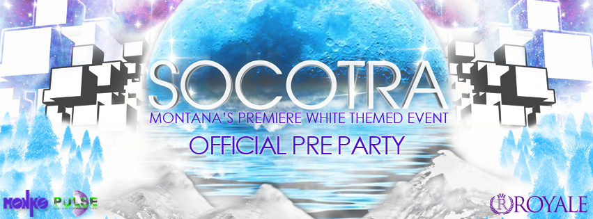Royale Entertainment Company presents NWF XI: Official Socotra Pre Party Preparty: https://www.facebook.com/events/299413563551645/  Main Event: https://www.facebook.com/events/784029118293383/ Kick off for the night in white early with us at Monk's at the official pre party for Socotra 2014, Montana's premiere white themed event, an evening of Electronic Dance Music & incredible Socotra-themed drink specials! Come out and kick-start the weekend right with us, dawned in white.  Plus, multiple lucky attendees will win free tickets to the main event:SOCOTRA 2014 with FIGURE & FELIX CARTAL! Lineup to be announced. Live dancing by SoulKandi GoGo Lighting & sound by Pulse https://www.facebook.com/pulsemissoula FREE for 21+, $3 for under 18 to dance, 21 to drink Official After Party information to be announced. About Socotra: Join us for a night in white at Socotra 2014, the debut Electronic Dance Music phenomenon coming to northwest Montana on April 26th. This extraordinary white themed celebration of music will beautifully blend art & sound to create a truly unique and magnificent experience for all, with a mind-blowing production and incredible world class performers: Figure, king of all things bass, and Felix Cartal, legend of Electro House.  Tickets: http://flavorus.com/socotra2014 Connect with the Royale Family www.RoyaleEntertainment.com http://facebook.com/royaleentertainment Instagram: @RoyaleFamily Twitter: @Royale406