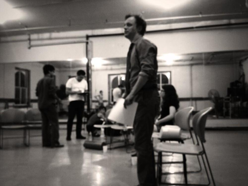 Matthew Trumbull in rehearsal for Why We Left Brooklyn (2013)