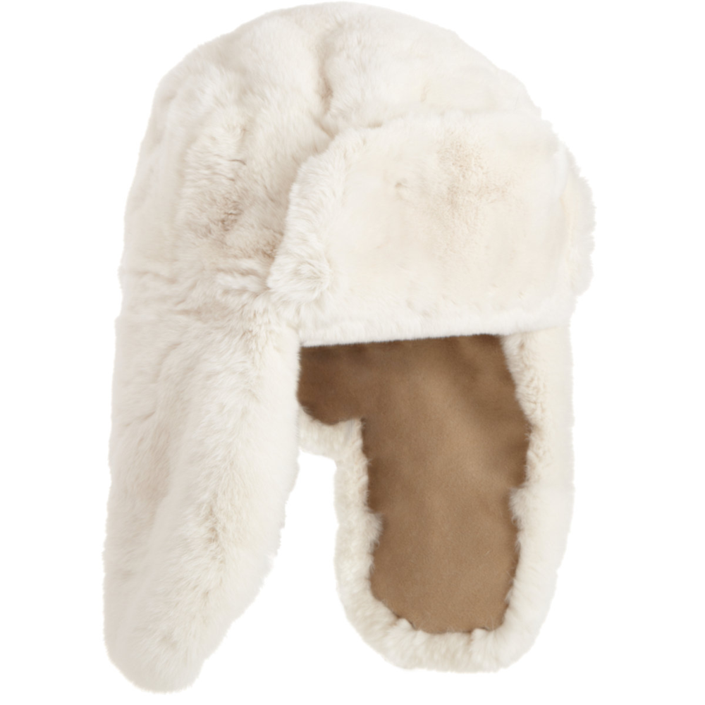 BARNEYS NEW YORK Reversible Rabbit Fur Trapper Hat  $319 Sale