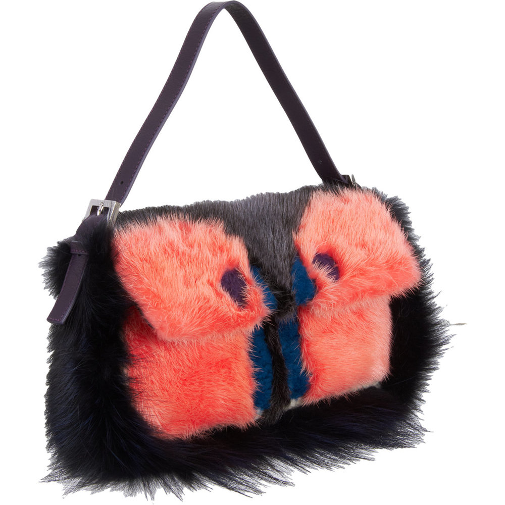 FENDI Fur Monster Baguette Bag