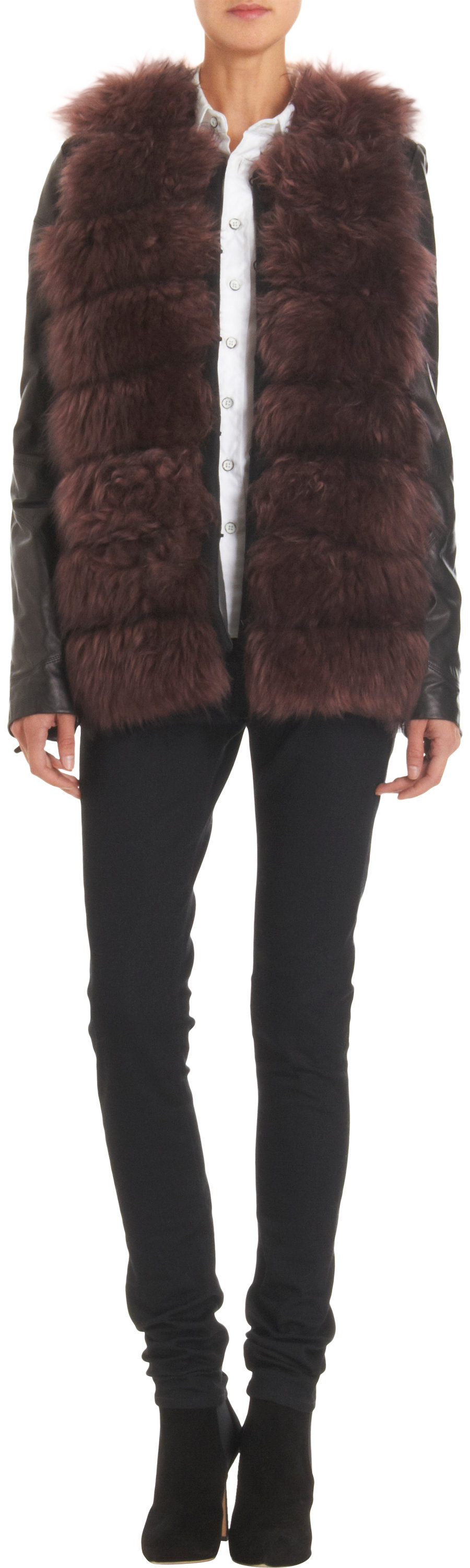 ASHLEY B  Leather Sleeve Fur Jacket