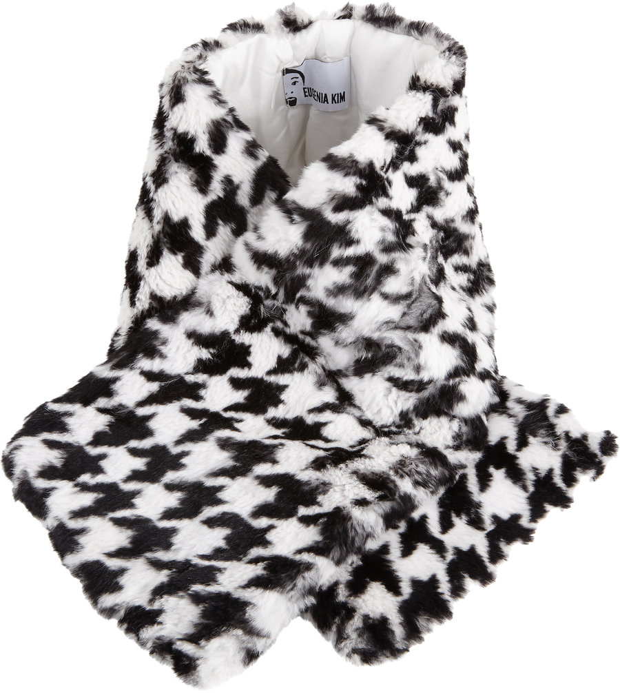 EUGENIA KIM Houndstooth Fur Devorah Wrap $259 Sale