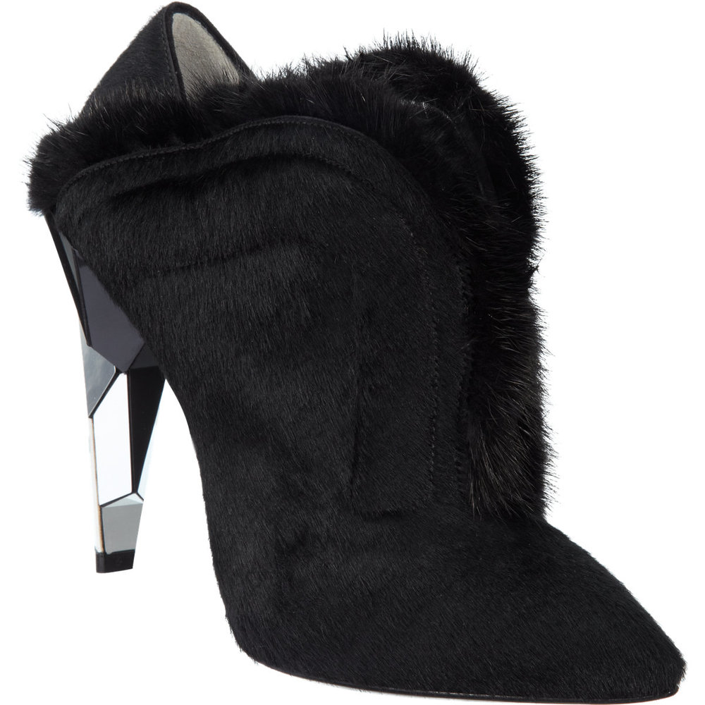 FENDI Fur-Trimmed Calf-Hair Shoe Boot $719 Sale