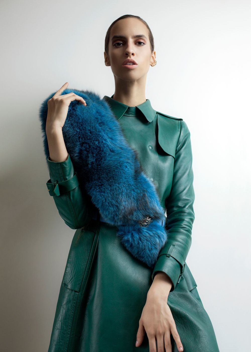 Stephanie Rogue in Valentino Coat, Fox fur, Versace Belt and Repossi Earring style by Peche Di