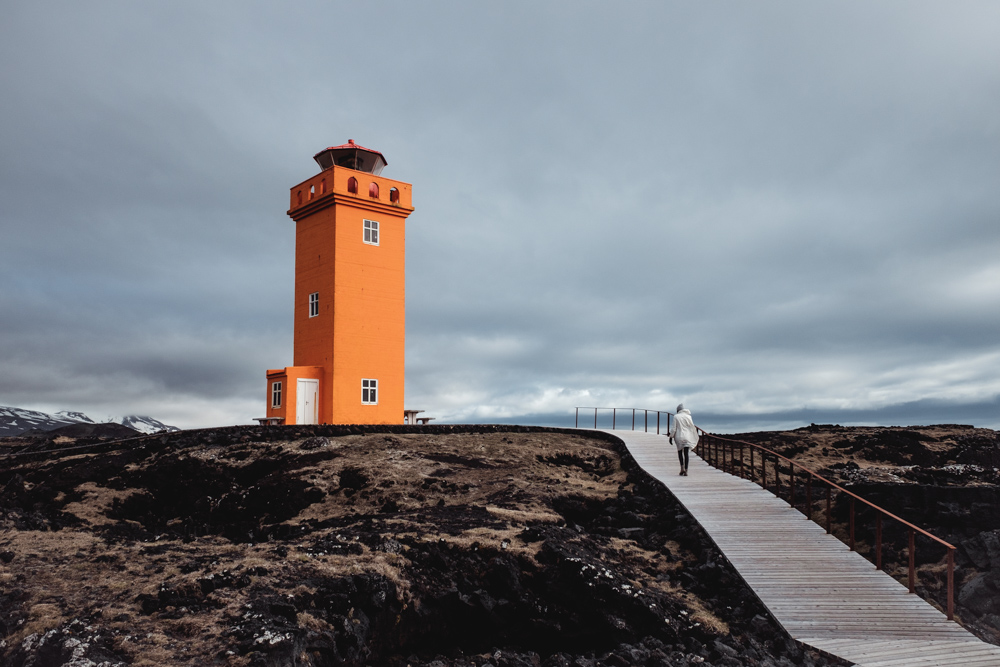 Orange Lighthouse at Grindavík