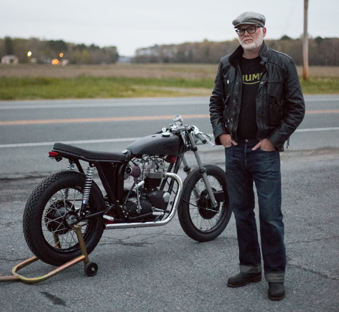 "JP from TSY and his Loaded Gun Customs Bonneville ""Tramp"""