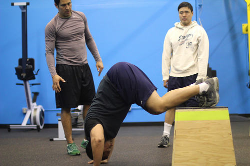 handstand pushups at CrossFit Elevation