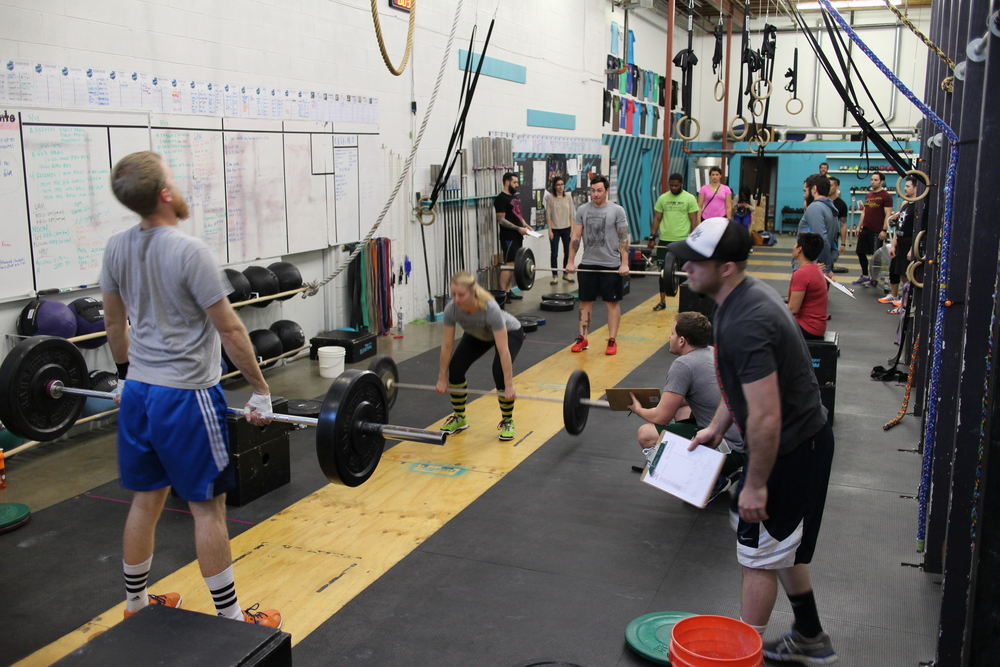 14.3 in full swing. Athletes from left to right: Ben Dion, Jamie Dion, Adam Loner, and Jarred McCorvey.
