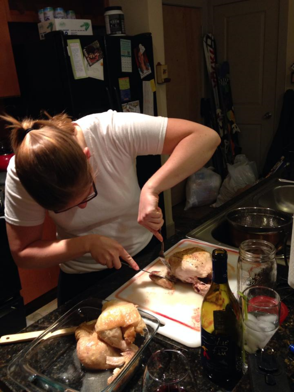 Hannah and Tommy making some whole chickens for a delicious dinner!