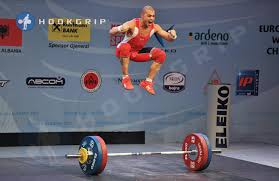 This is Asen Muradov (-56kg, Bulgaria) celebrating a 118kg snatch (6kg over double bodyweight) at the 2013 Europeans. This lift also won the snatch gold. Source: HookGrip.com