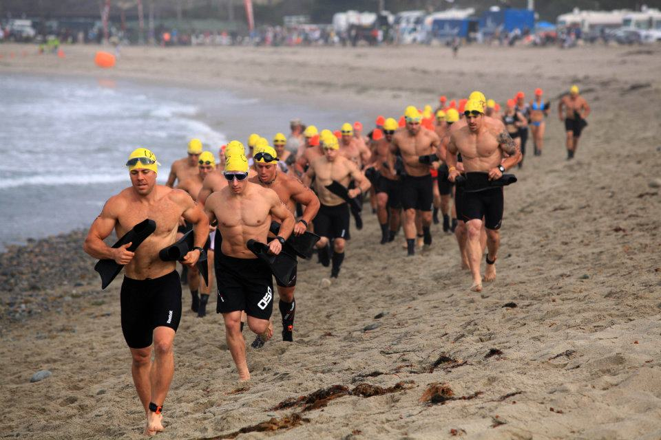 2012 CrossFit Games competitors during Event 1: Pendleton. Athletes had to complete a 700-meter swim, their next tasks were an 8-kilometer bike ride and an 11.3-kilometer run/hike through Pendleton's hills.