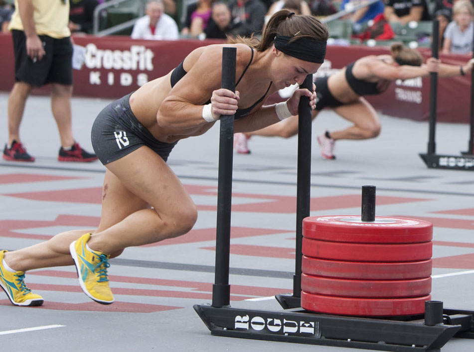 Lindsey Smith sled pushing during the 2011 CrossFit Games. Source: CF Journal