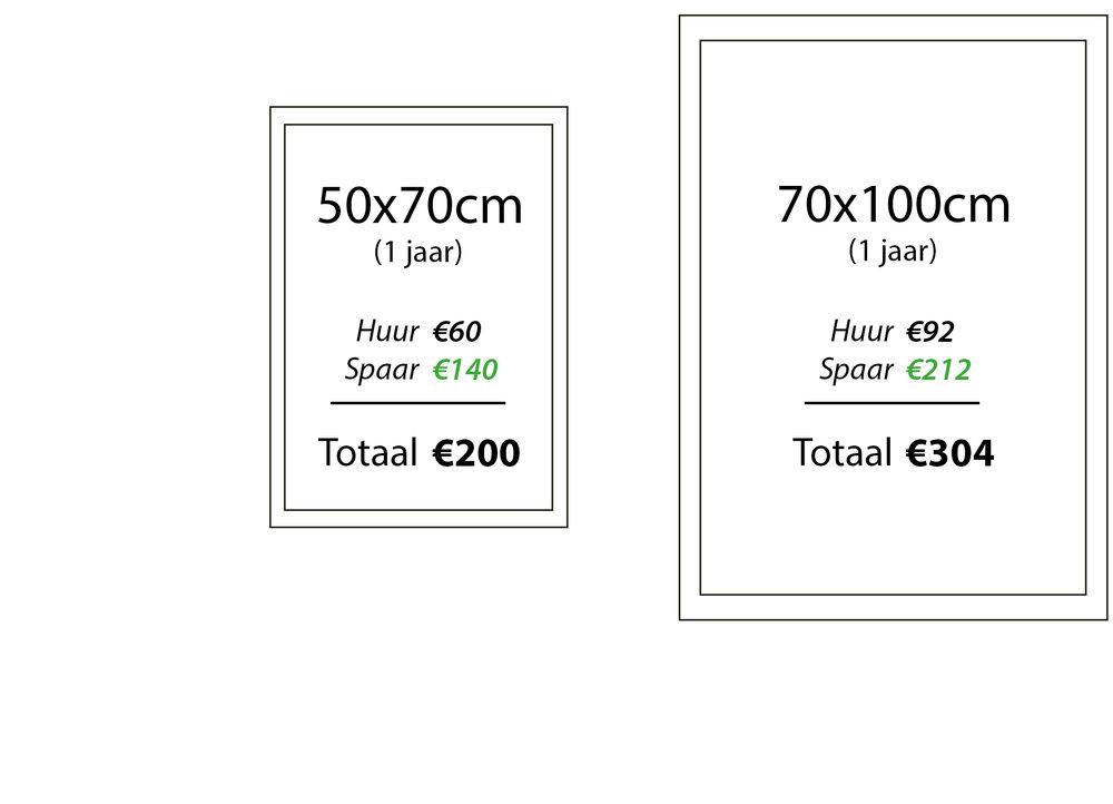 'Investor' - ●Met deze formule heeft u dezelfde voordelen als een sponsor maar u betaalt minder huur én spaart 70% van de totaalprijs op.●Het gespaarde bedrag kan na de termijn van uw formule gebruikt worden voor de aankoop van een collector's item.●Voor een foto van 50x70cm betaalt u dan slechts €5/maand terwijl u elk jaar €140 opzij zet voor een latere aankoop.
