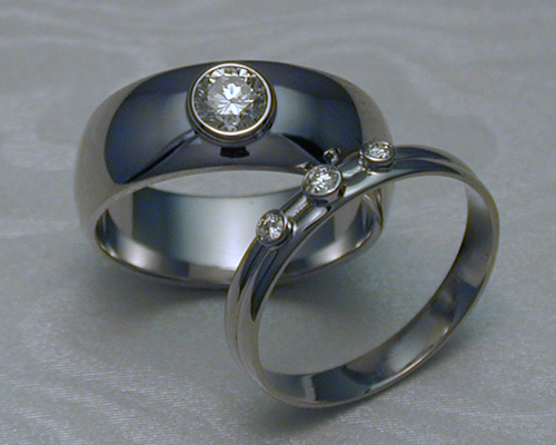 Half-Round, Wedding Band Set with Diamonds