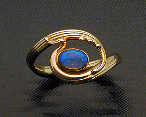 Handcrafted, Art Nouveau style ring.