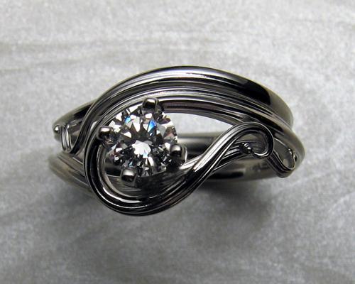 organic art nouveau style engagement ring set metamorphosis jewelry