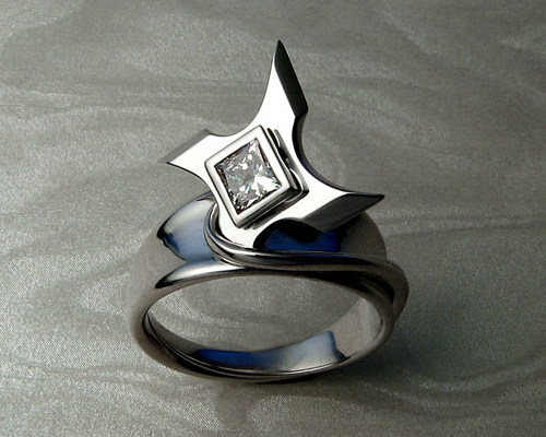 Ninja star, shuriken engagement ring.