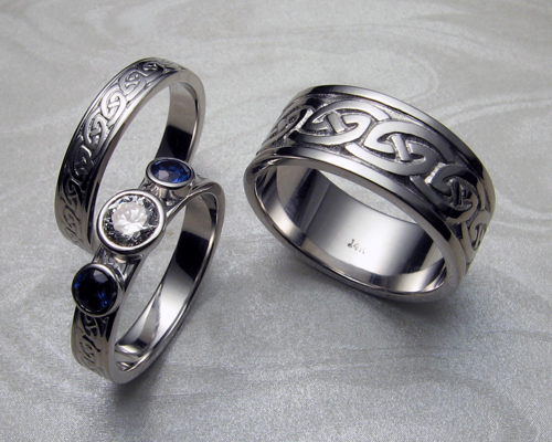 Celtic, wedding rings set.